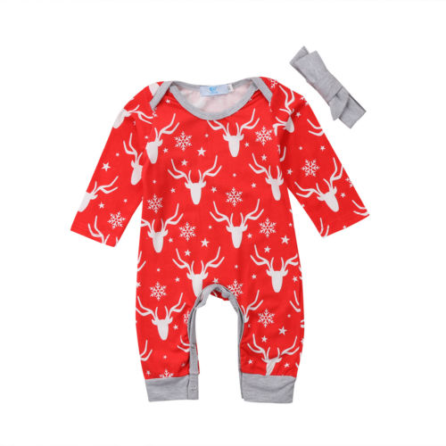 a95163c34cf0 Christmas Newborn Baby Boy Girl Deer Romper Long Sleeve Jumpsuit ...