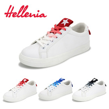 Hellenia 2018 Spring Summer New White Shoes Women Fashion Flat PU Leather shoe Female white Lacing Casual Hot-Selling