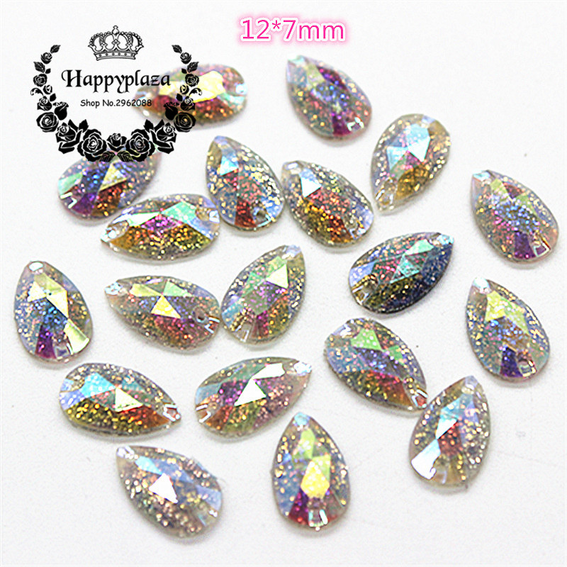 Detail Feedback Questions about 100pcs 12 7mm Teardrop Shiny AB Resin 2  Holes Sewing Stone Facets Flatback Cabochon DIY Garment Jewelry Craft  Decoration on ... f7881af787b0
