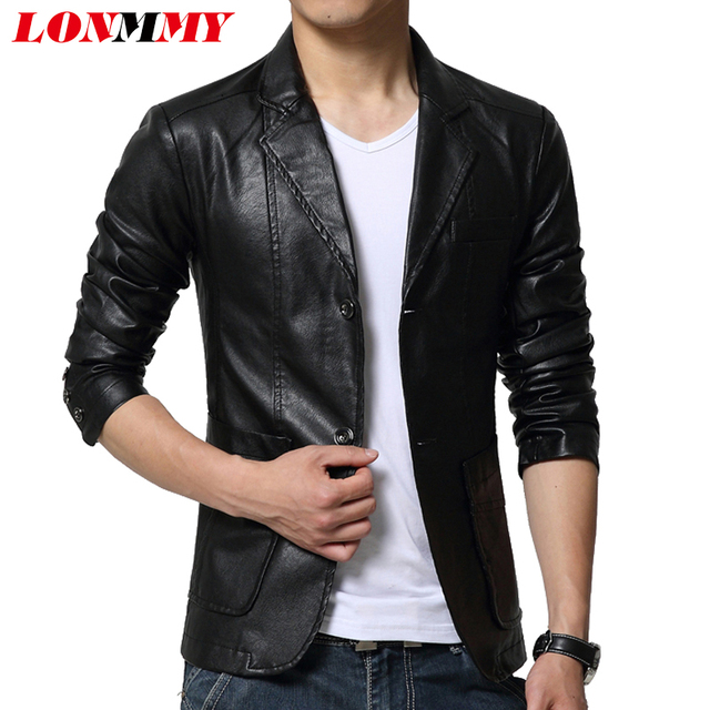 LONMMY M 6XL Suede leather jacket men blazer jaqueta Slim casual ...