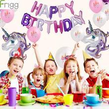 25Pcs Purple Unicorn Balloon Set Happy Birthday Party Decorations Headband Rose Gold Decor Accessories