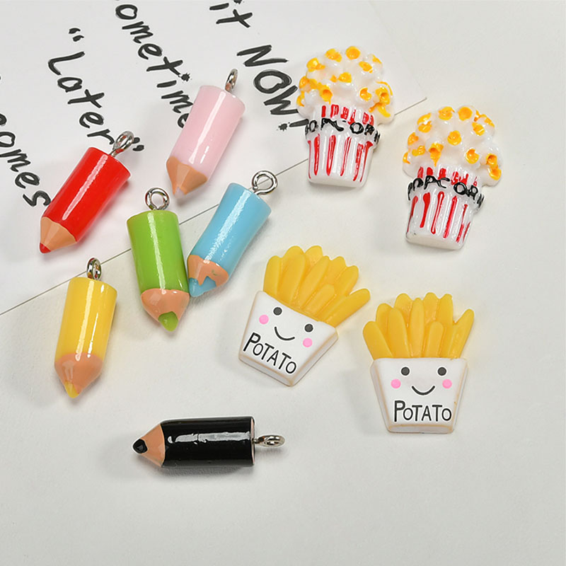 New arrived 50pcs/lot color resin materials pencil/popcorn/fries shape charms diy jewelry earrings/keychain pendants