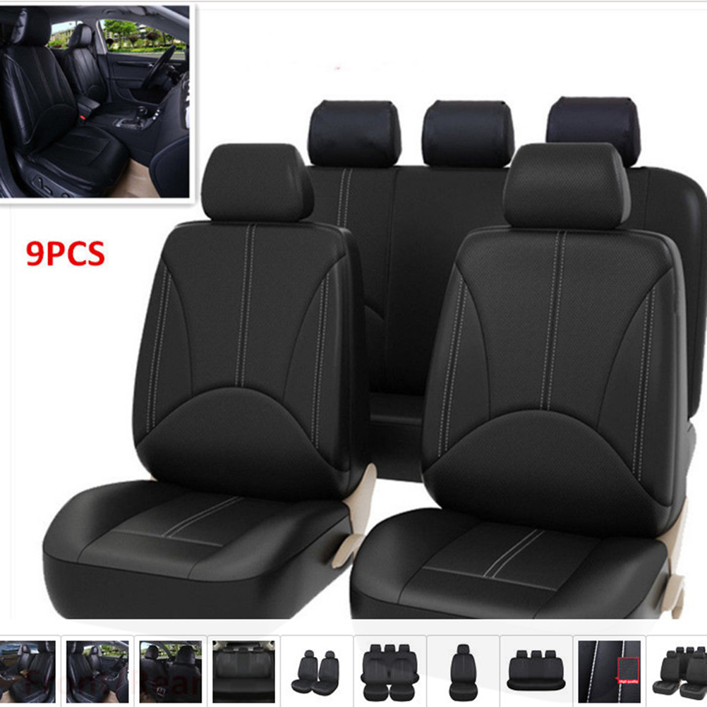 9 PCS/set PU Leather Universal Auto Car Seat Covers Anti Slip Seat Covers Front Back Seat Protectors for Car SUV Truck Honda