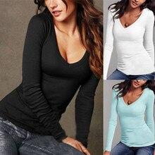 Sexy Women Long Sleeve T-shirt V-neck Slim Fit Warm Autumn Spring Basic T-shirts Tops XIN-Shipping