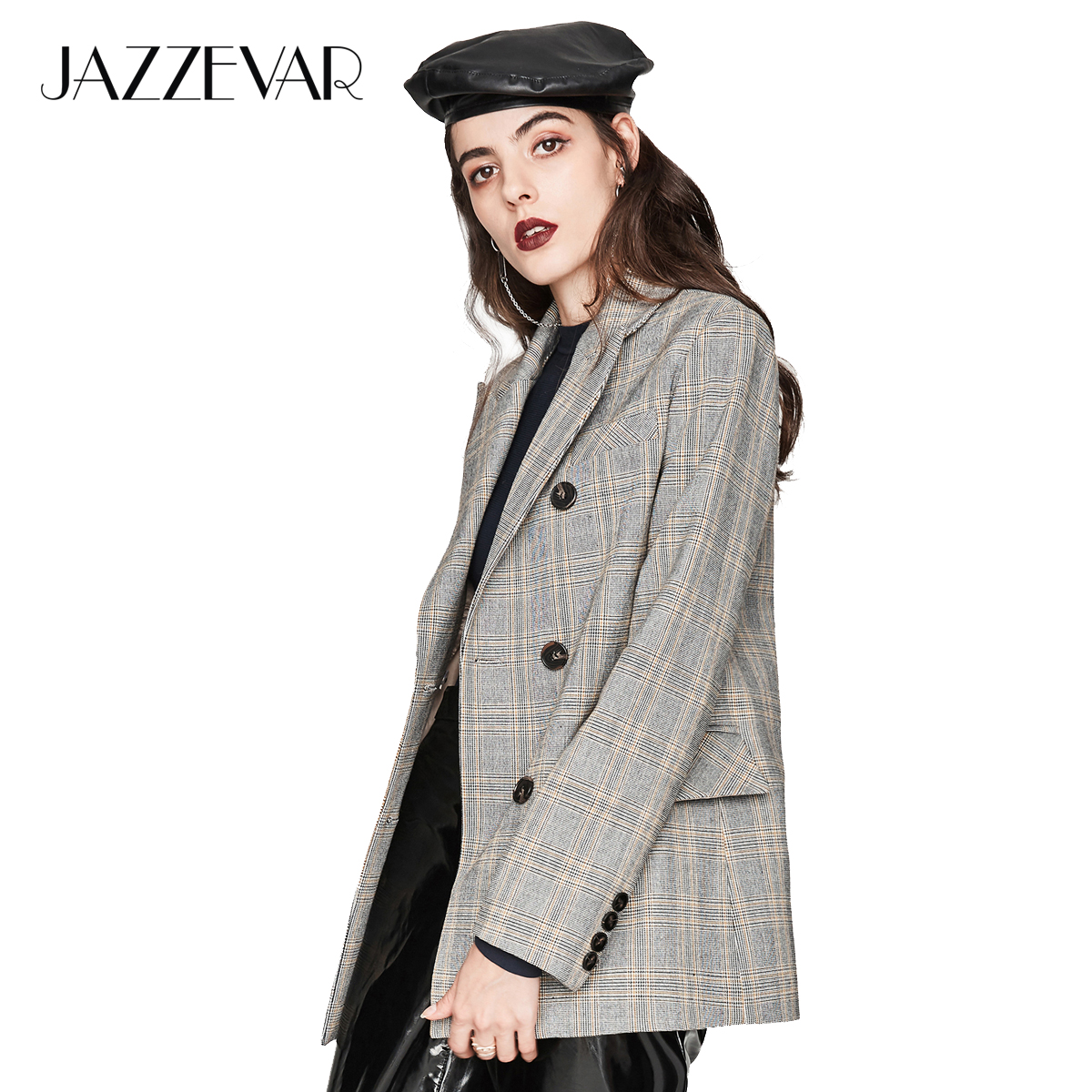 JAZZEVAR 2019 New Autumn Fashion Women s Vintage plaid Double Breasted Jacket Short Suit Outerwear High