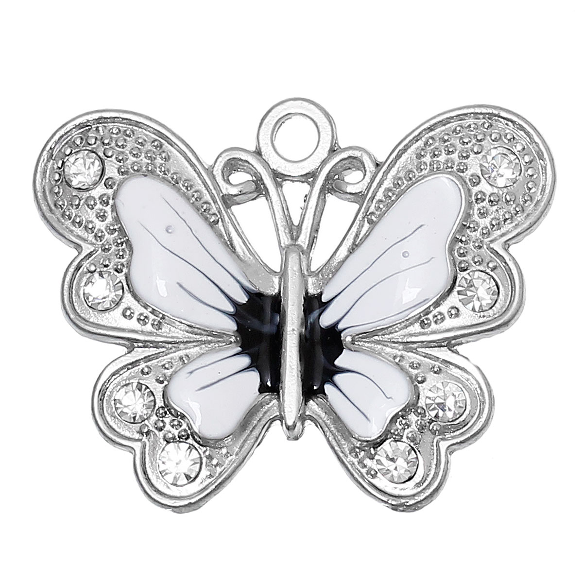 1 Stück Duftendes Aroma Doreenbeads Zink Metall Legierung Strass Charm Anhänger Schmetterling Antike Silber Weiß Klar Strass Emaille 34mm X 27mm Anhänger