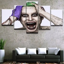 цена Painting Wall Art Pictures Canvas  Movie Posters Decor Frame 5 Panel The Dark Knight Jared Leto Joker Oil Draw Home Decor Print онлайн в 2017 году