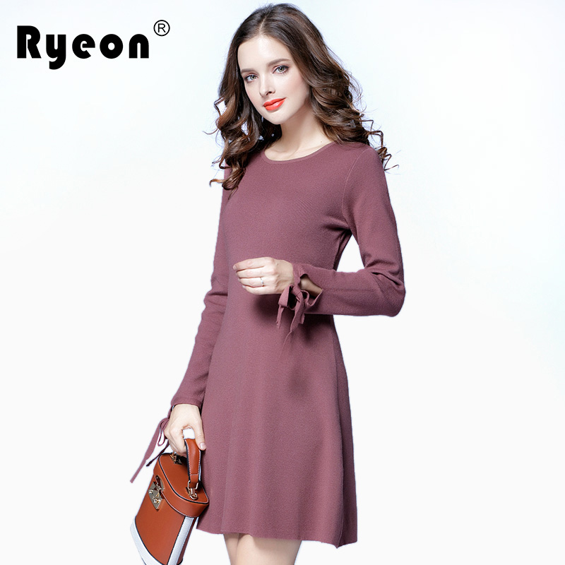 Ryeon Plus Size Sweater Dress Winter Autumn Spring Women A Line Long Sleeve Bow Cuff Vintage Elegant Big Size Sweater Dress 5xl