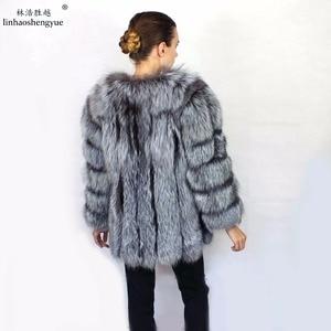 Image 2 - Linhaoshengyue Length70CM abrigo de piel de zorro auténtica, abrigo de piel Natural, abrigo de piel auténtica de zorro, mujeres de invierno