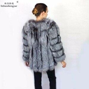 Image 2 - Linhaoshengyue Length70CM genuino di volpe cappotto di pelliccia, cappotto di pelliccia Naturale, reale della pelliccia di fox del cappotto, inverno delle donne