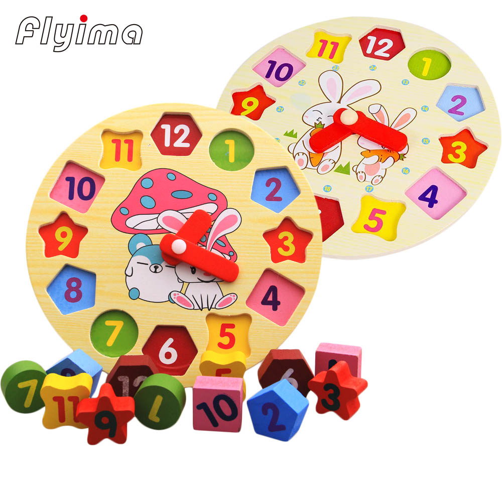montessori clock Educational Wooden toys Baby Kids wood 3D Puzzle 12 Numbers Geometry Wood Jigsaw cartoon rabbit Animal learn цена