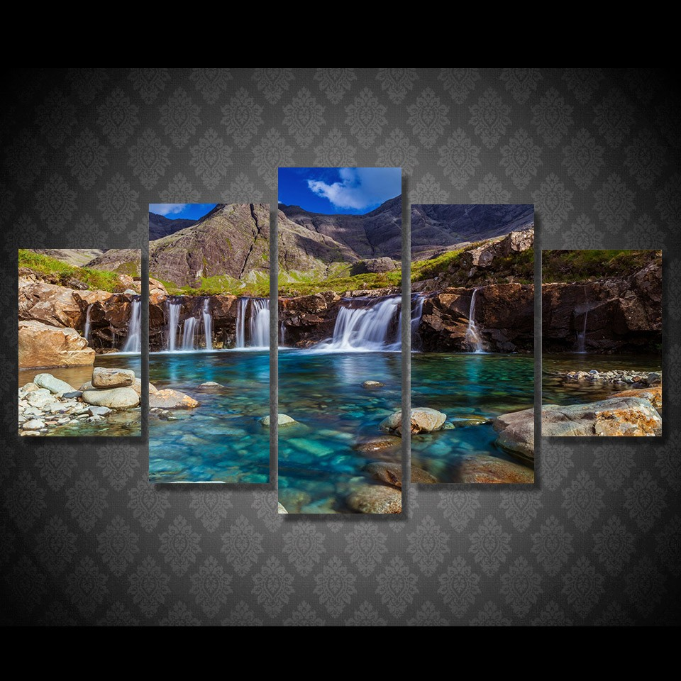 Canvas Decor Frame Wall Artworks 5 Pieces Mountain Waterfall Stone River Scenery Paintings Poster Modular Pictures HD Prints Art no frame canvas