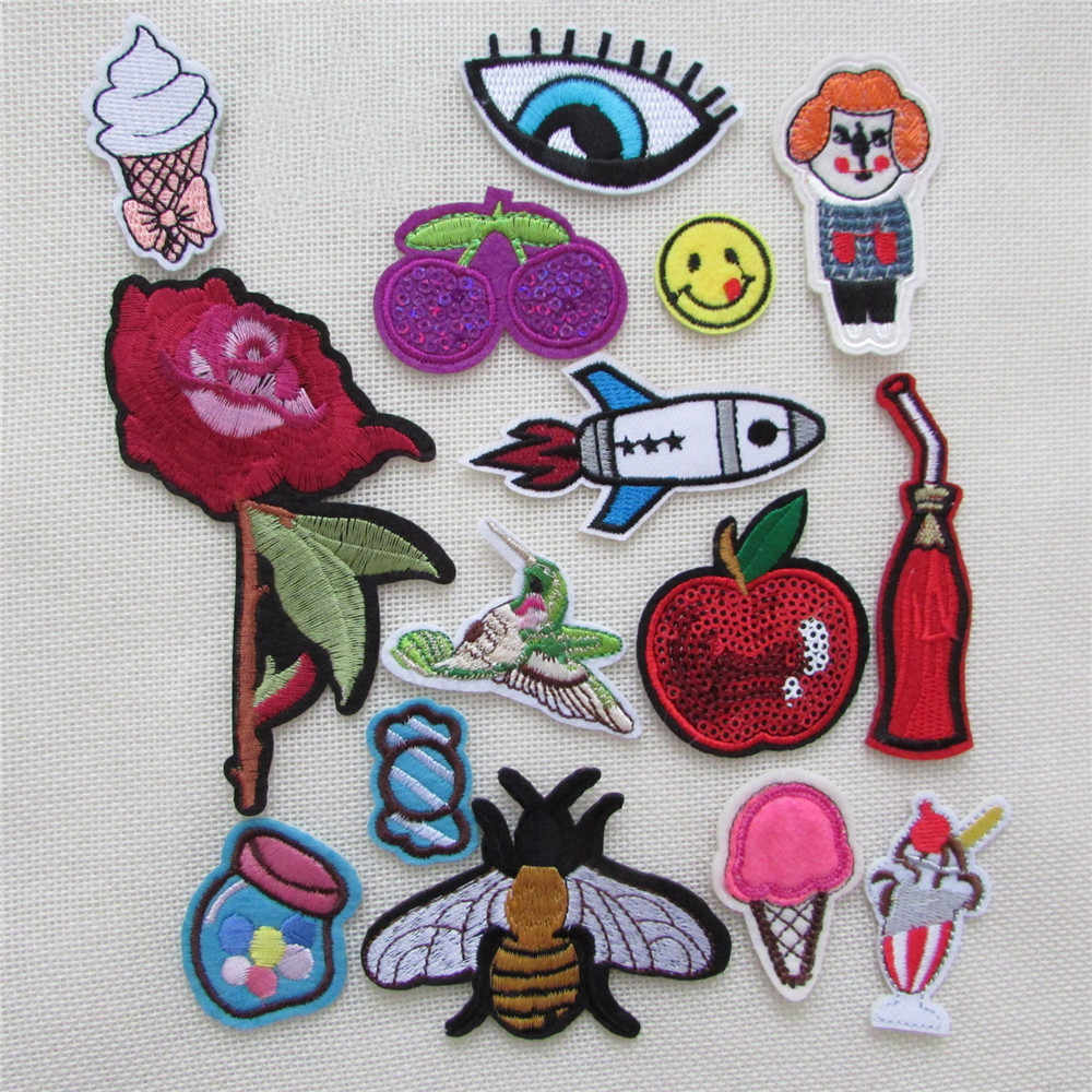 16pcs jacket Cartoon high quality fashion patches hot melt adhesive applique  embroidery patches stripes DIY clothing accessory