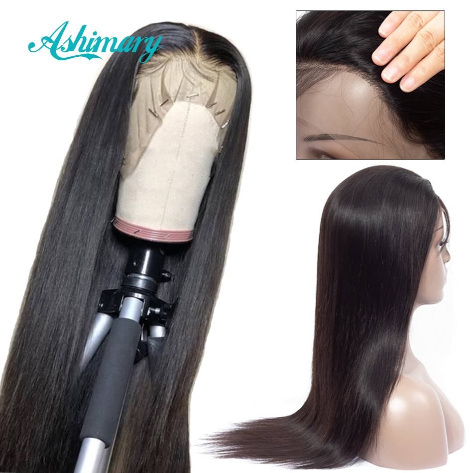 Ashimary Human-Hair-Wigs Lace-Front Straight Pre-Plucked Women Malaysian with 150-% Remy