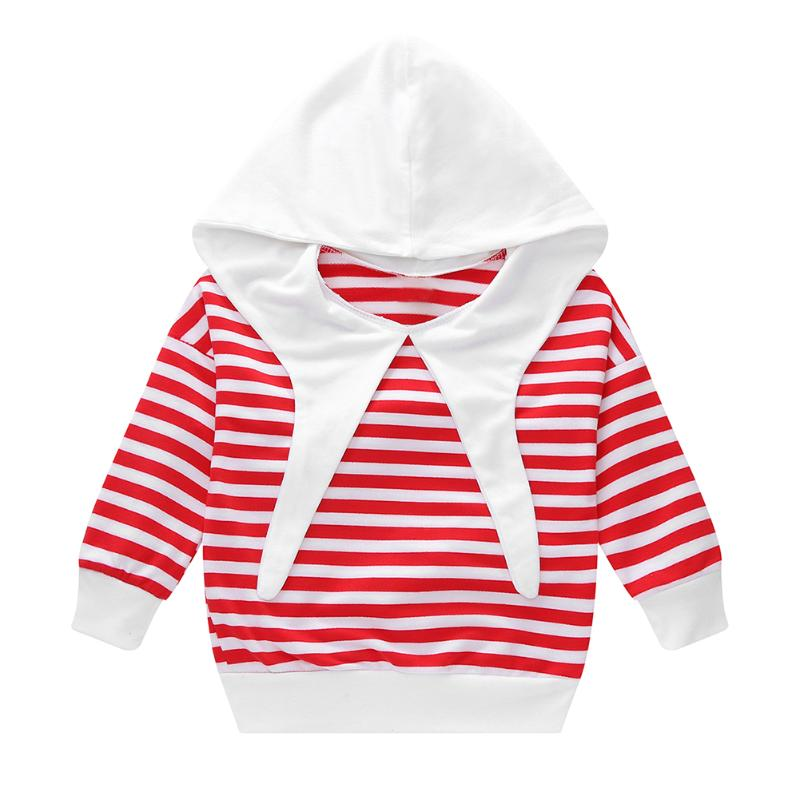 Spring Autumn Boys Girls Stripe Long Sleeve Pullover Hoodies Casual Sweatshirt Tops Kids Clothes for 3-7T