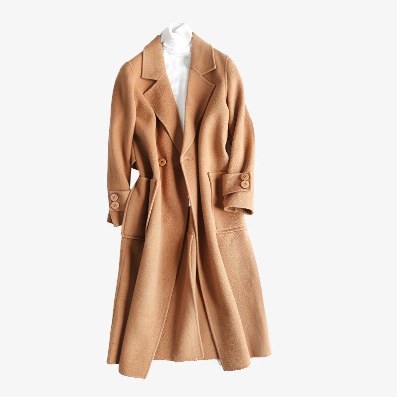 jacket women's wool blend coat korean coat pocket long female cashmere coat Button winter woman 2018 plus size Solid color coat