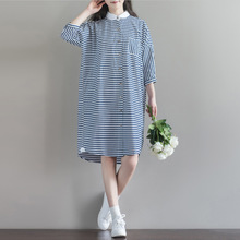 Women Dress Big Size Chinese Style Loose Blue and White Striped Stand Loose 2017 Autumn Cotton Linen Vintage Half Sleeve