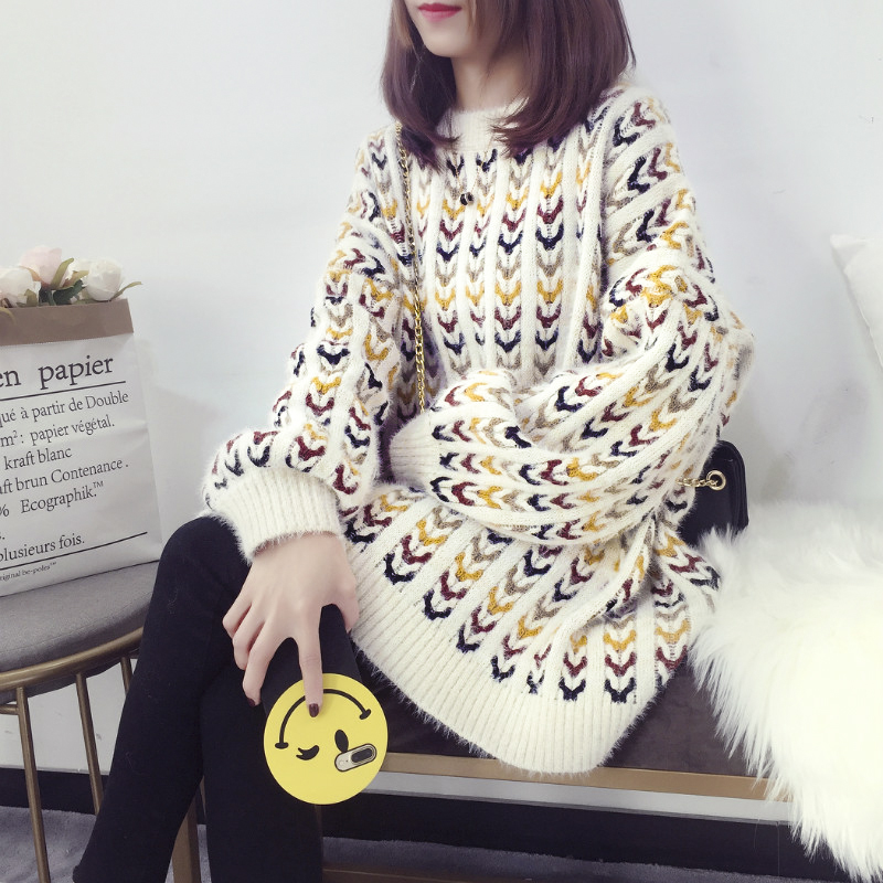 Chandails de piste femmes de luxe de longueur moyenne épaississement manches lanterne chandail tricoté femme coréenne lâche chaud tricoté hauts nouveau