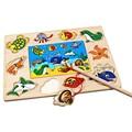 Novo Tamanho Grande De Madeira Placa De Pesca Mini Oceano Caranguejo Peixe Preschool Educacional Puzzle Brinquedo de Pesca Magnética Placas Para Caçoa o Presente