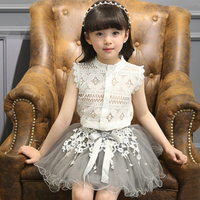 2016 Summer New Korean Girls Sleeveless Shirt Lace Princess Tutu Hollow Skirt Suit