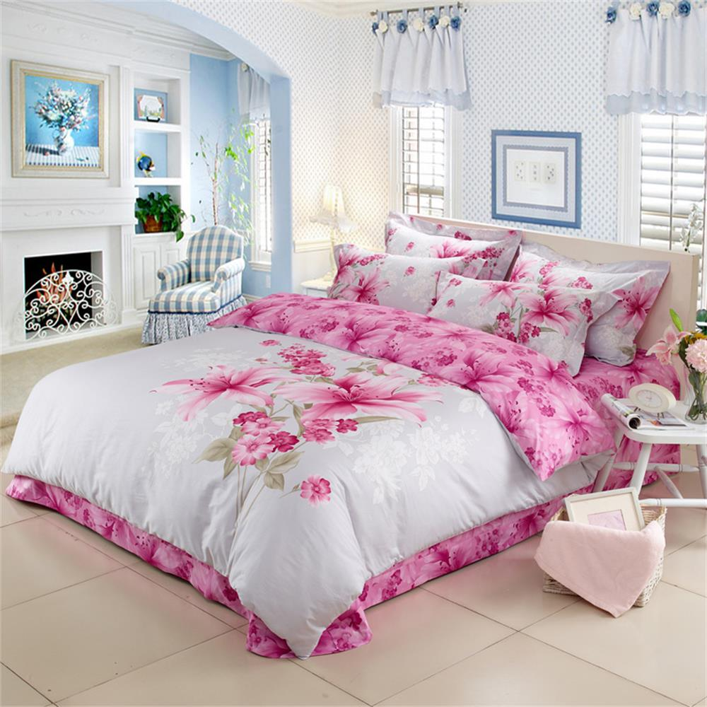 Bed sheet set with quilt - Cotton Reactive Print 3d Lily Flowers Bedding Set Queen King Size Girls Bed Sheet Set Pillowcase Duvet Cover China Air Express