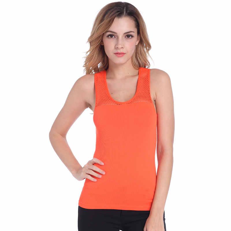 Leczyć pomarańczowy kamizelka sportowa bluzka damska Top siłownia bez rękawów sportowa koszula Top sportowy podkoszulki kobiety odzież do biegania odzież kamizelka do biegania