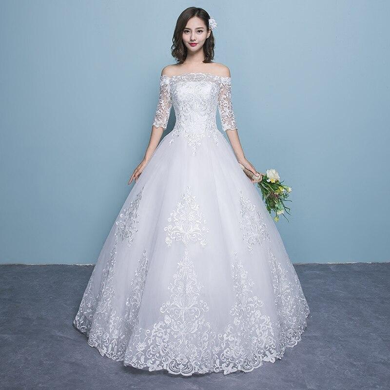 Wedding Dress 2019 New Arrival Butterfly Gelinlik Embroidery Lace Boat Neck Off the Shoulder Princess Gowns Vestidos De Novia