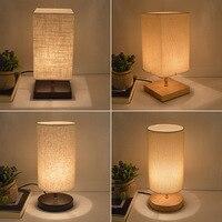 Modern Fabric Table Lamp Wood Linen Bedside Lamp Classical Bedroom Desk Lamp Lampe De Chevet De Chambre E27 110V 220V US EU Plug