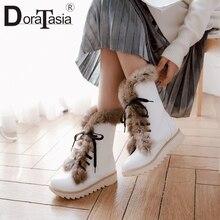 DoraTasiaขายร้อนฤดูหนาวลื่นแพลตฟอร์มขนสัตว์Bootiesสุภาพสตรีกันน้ำข้อเท้าหิมะรองเท้าผู้หญิง 2019 Warm Wedgesรองเท้าผู้หญิง