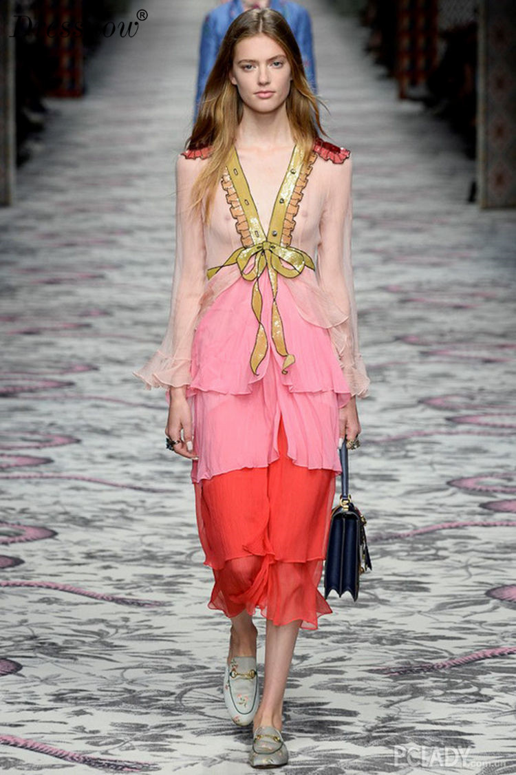 High Quality Spring Dress Girl Elegant Real Silk Glitter Long Dress Women Patchwork V Neck Sexy Evening Party Dress