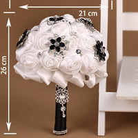 White Artificial Flower Rose Elegant Crystal Wedding Bouquet Brooch Bouquets Bridal Flowers Wedding Accessories