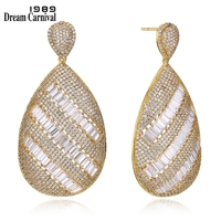 DreamCarnival 1989 Elegant Big Earrings for Wedding 4 Colors Cubic Zirconia Baguette Stones Deluxe Women Party Jewelry SE21414