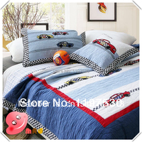 180 225cm Stitching Twin Quilt Set Pure Cotton 2pcs Bedding Set Patterned With Car 1 Bedspread