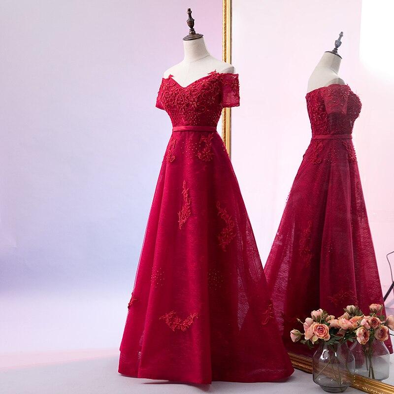 2019   Evening     Dress   Prom   Dress   A-Line Off Shoulder Beading Short Sleeve Floor Length New Arrival Party   Dress   Robe De Soiree