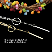 Summer Style Gold/Silver Color Circle Lock Chain Necklace