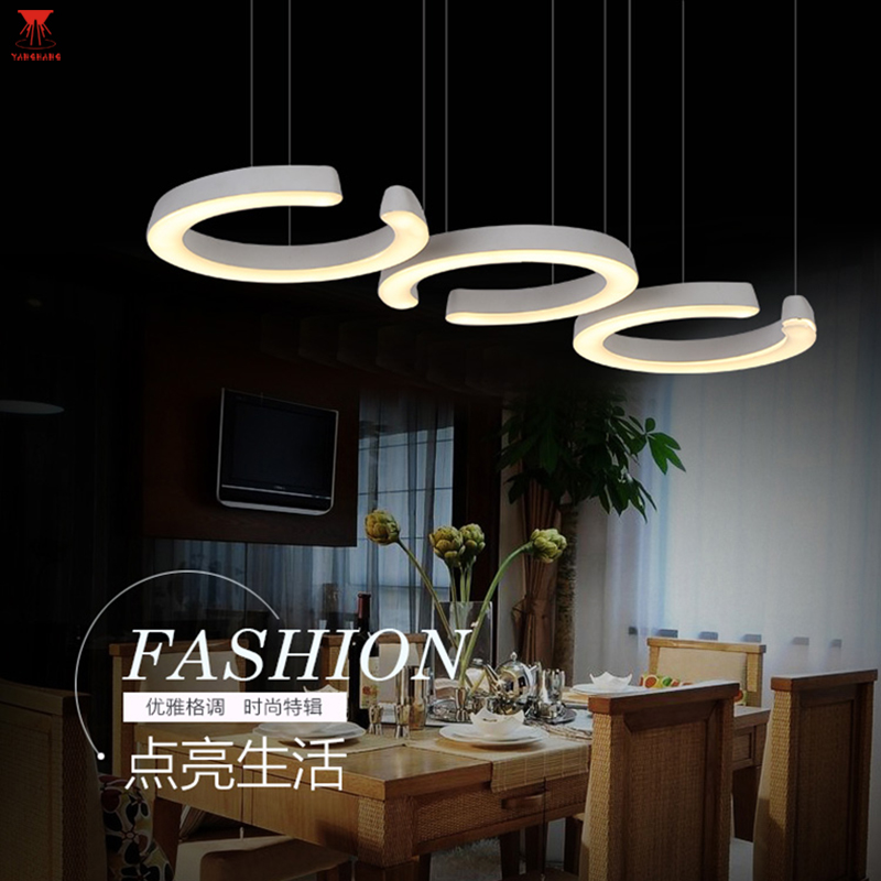 Modern Creative 3 Ring Circular Lights Simple Acrylic Lamp for Bar Restaurant Coffee Shop With LED Fashion Comfortable Chips nordic simple white glass pendant lamp modern fashion restaurant bedroom led lighting creative for bar coffee shop lamp
