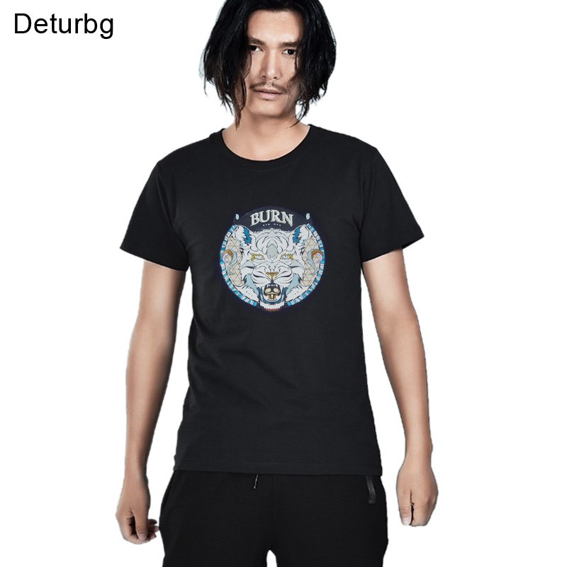 Deturbg Mens Burn Tiger Print T Shirt For Male Short Sleeve Cotton XXXL 4XL Black White Mans T-Shirt Tops 2018 Summer Mt017