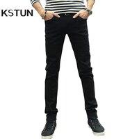 KSTUN Mężczyźni Noga Skinny Jeans Ołówek Spodnie Stretch Schudnięcia Chłopców Yong Mężczyzna Spodnie Jeansowe męskie Solidna Niebieski Czarny Jakości Hombre 36
