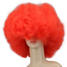 QQXCAIW 200g Super Big  Short Culry Red Cosplay Party Dance Afro Wigs