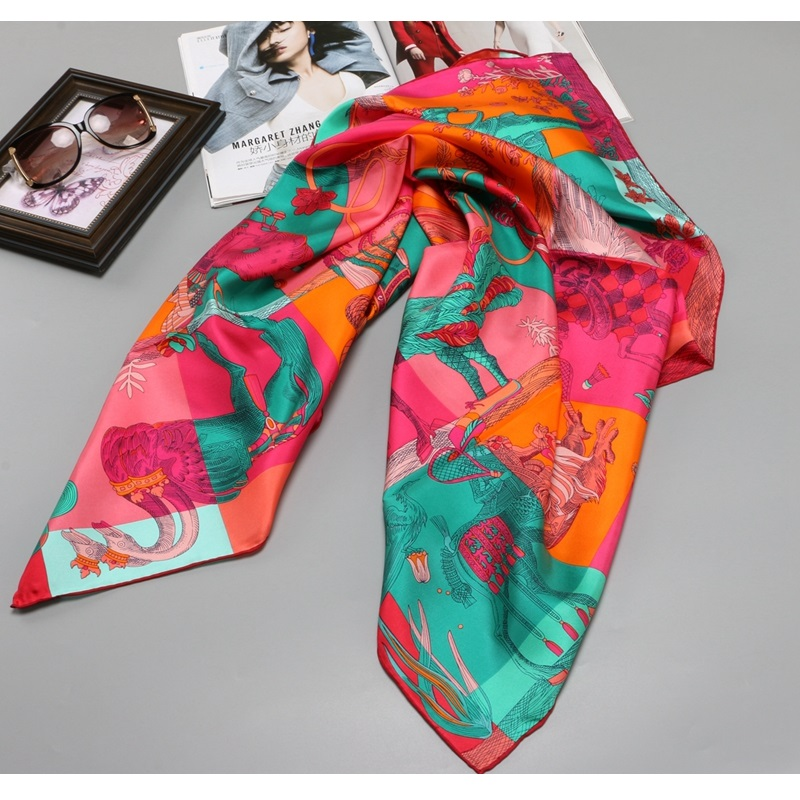 Hand Roll Edges 100% Silk Scarf 90 Large Square Silk Scarfs Wraps Foulard Women Head Scarves for Hair Wrapping