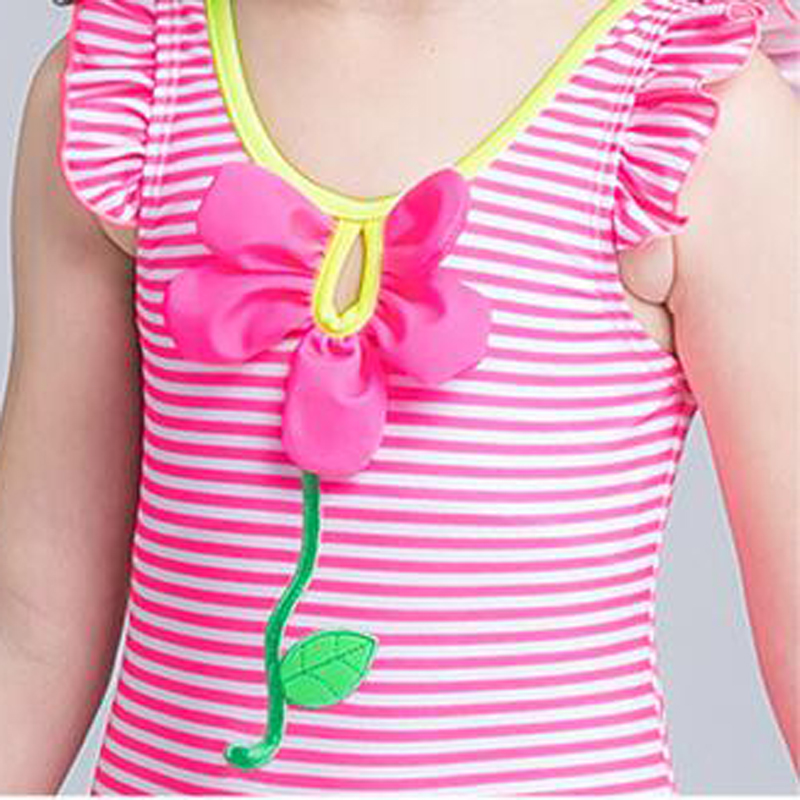 508240e9c4023 Zosmiu New Kids White & Pink Striped One Piece Swimsuit Girls Flower Ruffle  Swimwear Children Beachwear Bathing Suit With Skirt -in Children's One-Piece  ...