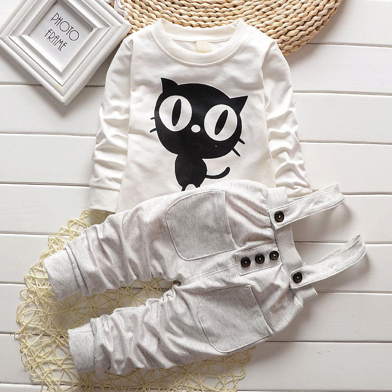 Baby Boy Clothes 2017 Spring Autumn OWL Print Long T-Shirt T-shirt Tops + Overalls Pants 2PCS Outfits Kids Bebes Jogging Suit print t shirt pants
