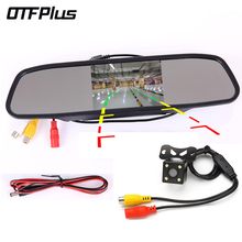 hot deal buy otfplus 4.3 inch car mirror monitor led rear view mirror monitors camera video auto parking assistance night vision reversing