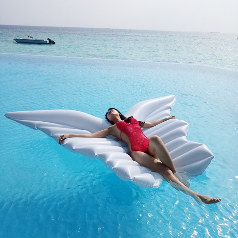 250cm Large Size Pool Party Inflatable Angel Wings Floating Row PVC Inflat Water Bed Toy Swimming Ring Air Mattress Floating giant pool float shells inflatable in water floating row pearl ball scallop aqua loungers floating air mattress donuts swim ring