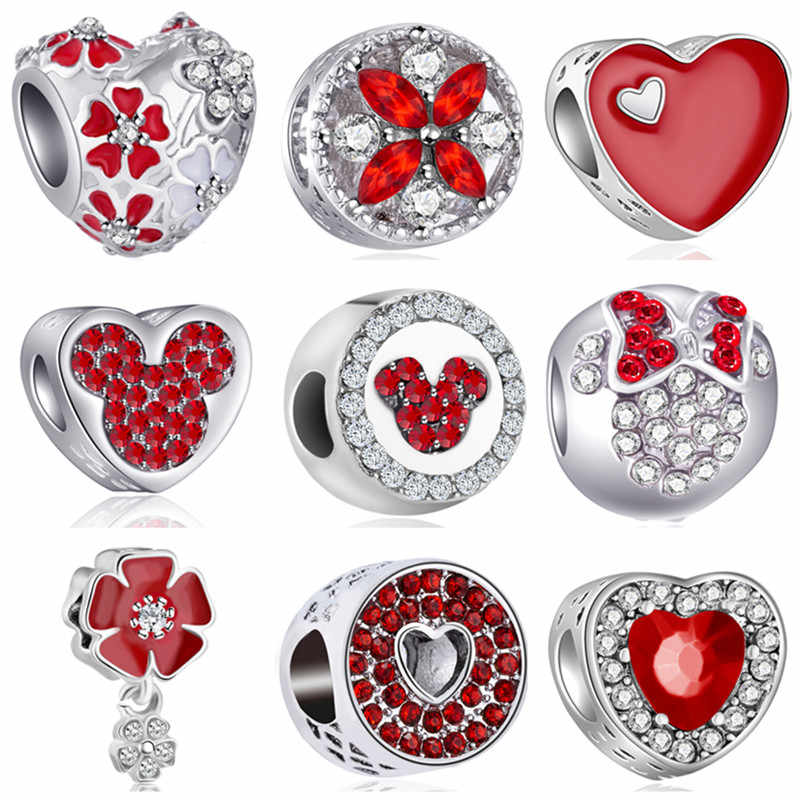 Hot Selling Red Color Crystal Bow Flower Heart Mickey Pandora Charms Beads Fit Original Bracelets & Bangles for Women Part Gifts
