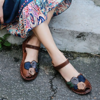 2019 VALLU Peep Toes Women Sandals Shoes for Summer Genuine Leather Handmade Flowers Ankle Strap Women's Flat Sandals
