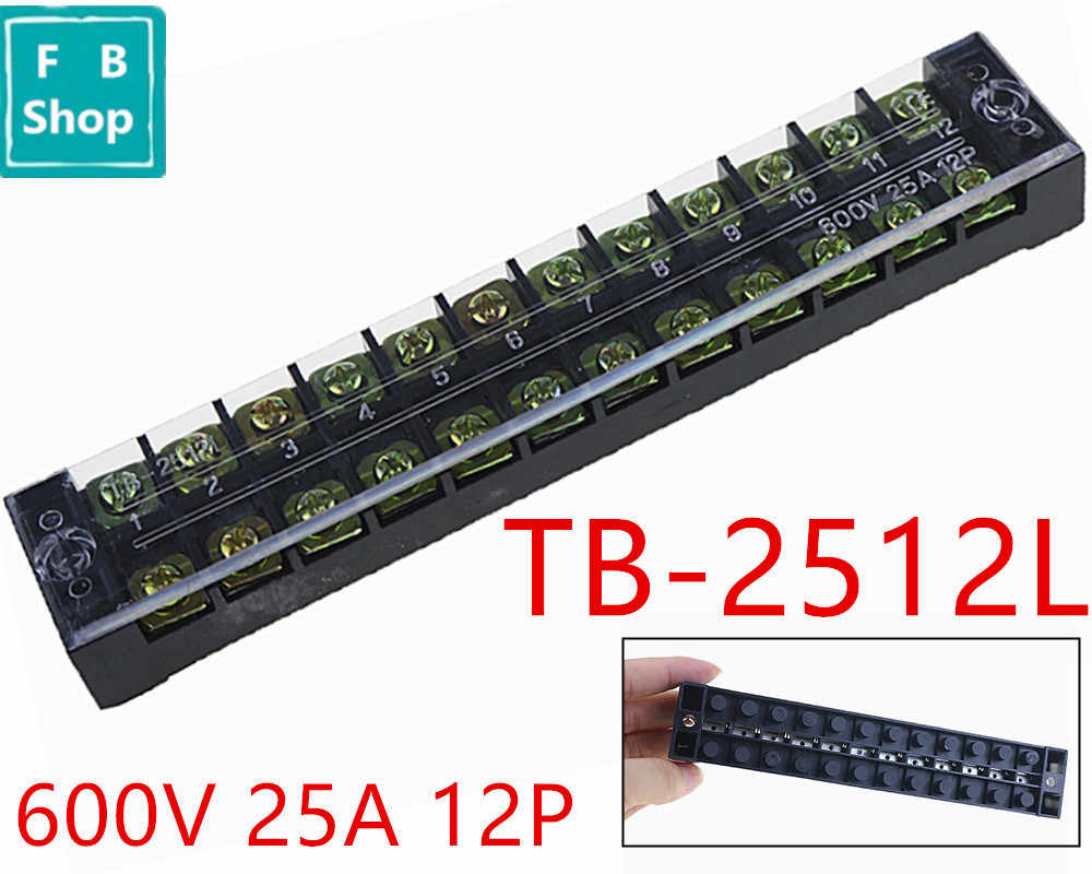 hight resolution of 1pcs tb 2512 2512l 600v 25a 12 position connection terminal row electric connector patch panel