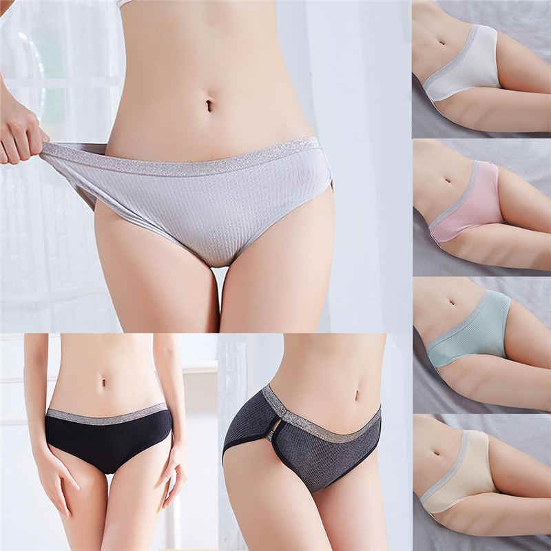 Hot Sale Autumn Mid-Rise Cotton Solid Color Padded Seamless Trendy Underwear Panties Underwear Ladies Nylon briefs Bragas Mujer