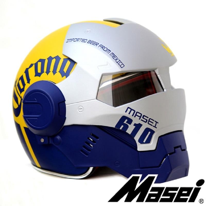MASEI 610 IRONMAN motorcycle helmet Casque Moto half helmet Personality open face helmet Trend Cycle Race helmet Yellow+Silver