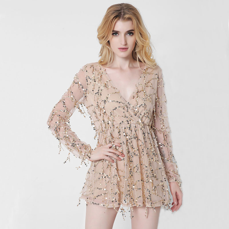 Popular Gold Sequin Gown with Sleeves-Buy Cheap Gold Sequin Gown ...